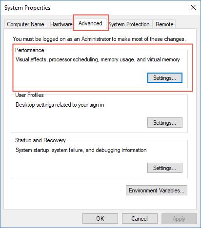 Advanced tab > Performance