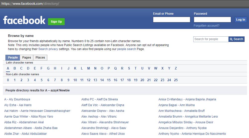 Facebook directory to find kindergarten friends