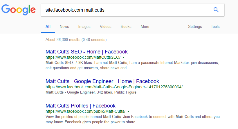 Google search for Facebook search