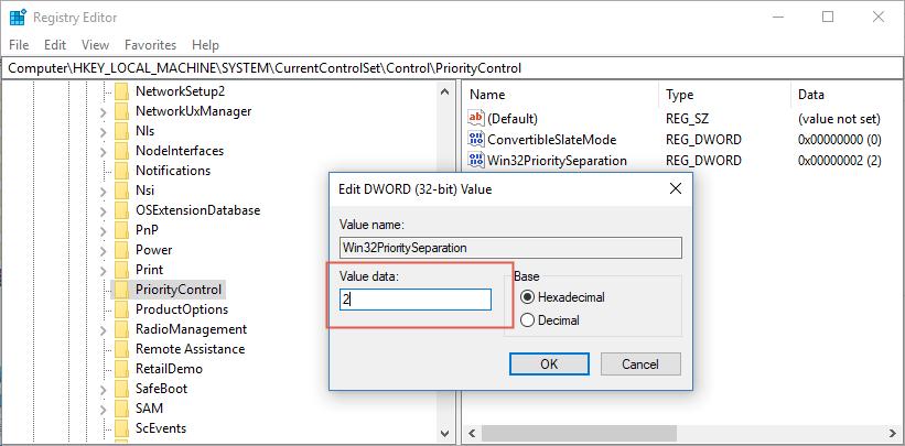 Win32PrioritySeparation hex value data 2