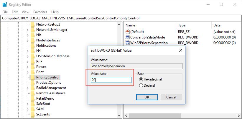 Win32PrioritySeparation hex value data 26