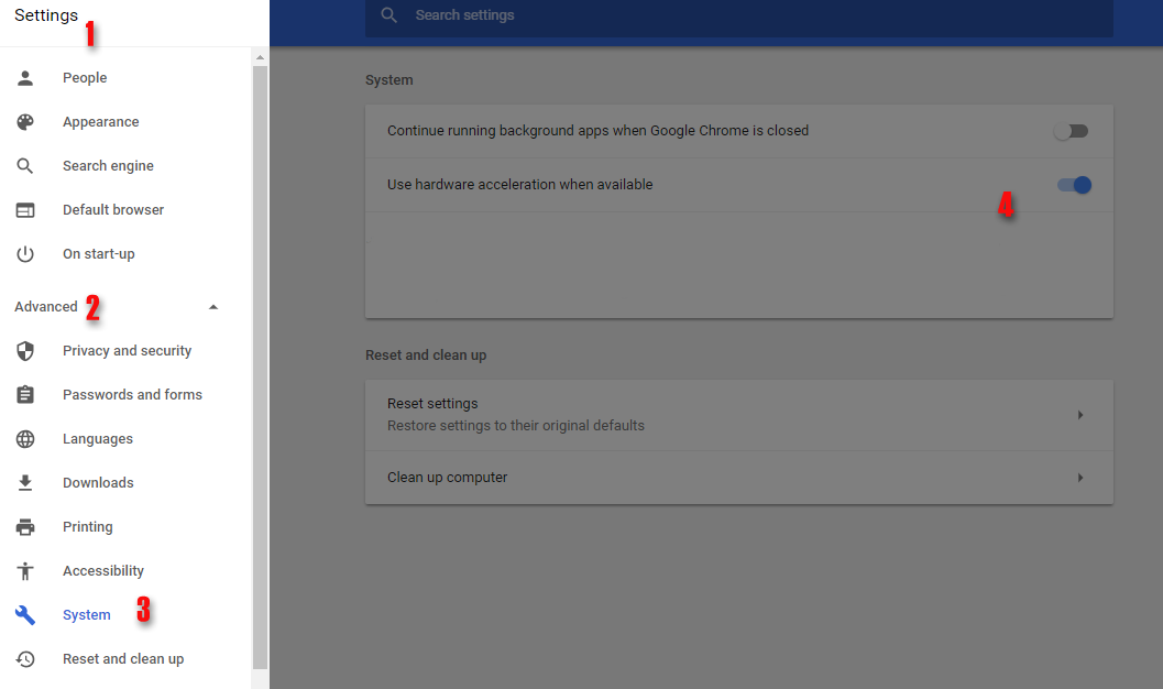 chrome settings system