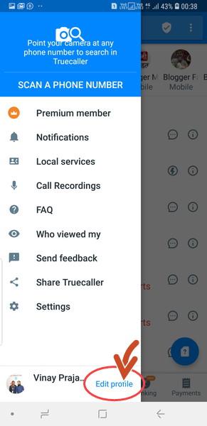 Truecaller edit profile